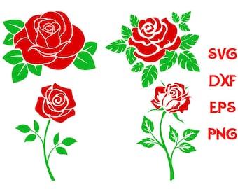 red rose svg, roses clipart svg, flowers svg, roses svg, flowers dxf, silhouette roses svg, svg shirts, scrapbooking files, stickers svg