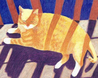 Sun Worshiper tabby cat greeting card blank