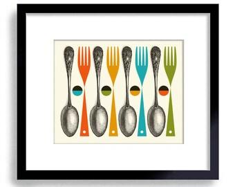 Kitchen Art Print, Mid Century Modern Kitchen Decor, Colorful Cooking Art Fork and Spoon Chef Art Kitchen Utensils Modern Art Wall  Art