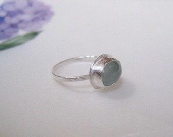 Aquamarine ring, aquamarine ring in silver, solitaire aquamarine ring, solitaire ring, March birthstone ring, artisan aquamarine ring, ring