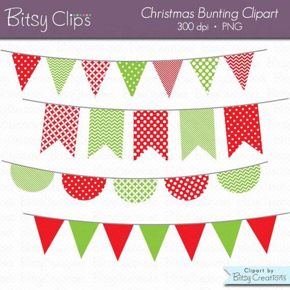 Christmas Bunting Clipart Digital Art Set Red Green Banner