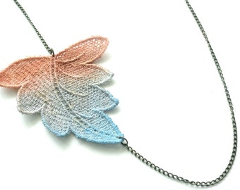 Lace Necklace Hand Painted - Brown Grey Blue Ombre Leaf