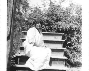 Vintage 1920's Black & White Snapshot Photo Pretty Woman on Steps to No Where