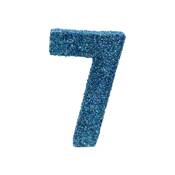 """8"""" Glitter Number 7, Paper Mache Number 7, Giant Blue Number, Centerpiece Number Seven, Table Letters, Large Decorative Blue Number Birthday"""