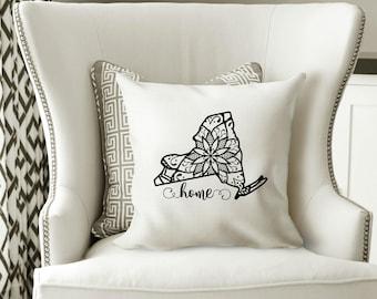 New York Pillow Cover, Mandala, New York Decor, New York, NYC, Housewarming Gift, Pillow, Home Pillow, State Pillow, Pillow Cover,Wedding