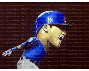 Addison Russell, Chicago Cubs World Series Game 6 Grand Slam 2016 Art Photo Print