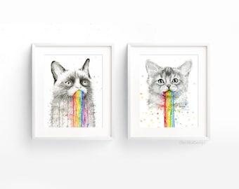 Cats Puking Rainbows Watercolor Art Print Set, Grumpy Cat, Animal Watercolor, Rainbow Animals, Rainbow Vomit, Funny Cat Art, Set of 2 Prints