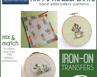 Embroidery Patterns Happy Houseplants Iron On transfers for hand embroidery, houseplant hand embroidery patterns, Modern embroidery