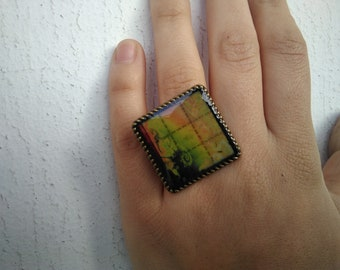 LSD Blotter ring yellow fractal psychedelic sacred geometry craft 30mm x 30mm
