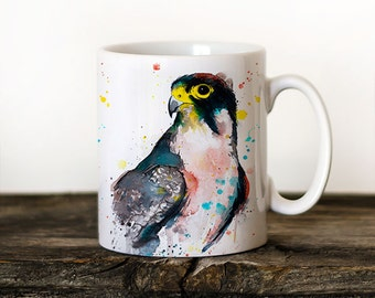 Lanner falcon Mug Watercolor Ceramic Mug Unique Gift Coffee Mug Animal Mug Tea Cup Art Illustration Cool Kitchen Art Printed
