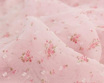 Chiffon Fabric coloured Background Small broken flower colored Skirt  handmade DIY 59.1'' width 1 yard zng003