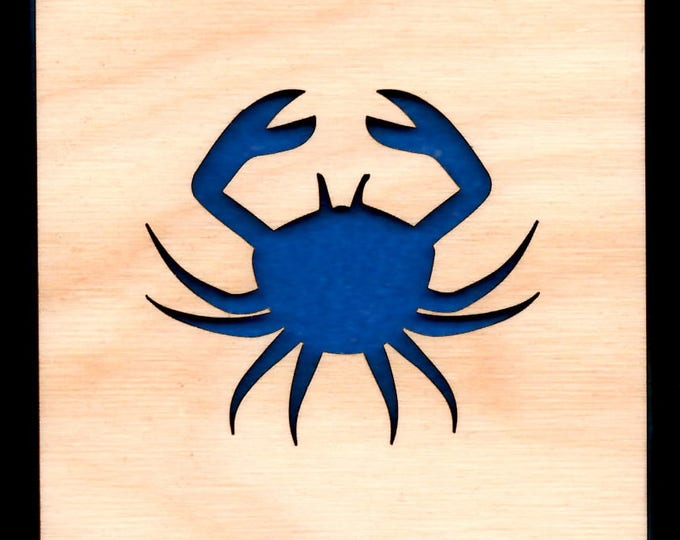 4 Crab Coasters wooden laser cut natural eco-friendly Waterproof plywood birch and Felt