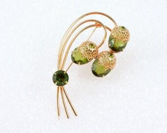 Sarah Coventry Green Rhinestone Flower Brooch, Juliana Brooch, Touch of Elegance