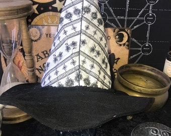 Modern Witch, Warlock, Wizard Hat:  White and Black Embroidered Floral Denim FREE SHIPPING