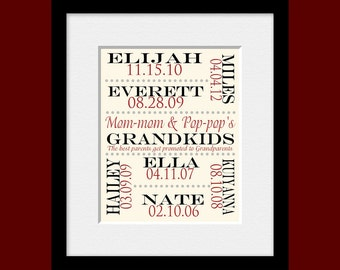 GRANDPARENT GIFT, Grandchildren Name and Birthdate Print, Best Parents Get Promoted to Grandparents, Grandparent Special Occasion Gift