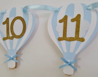 Hot air balloon photo boy banner newborn to 12 month 1 year picture banner
