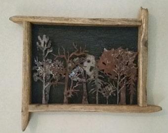 Woodland Wonders Metal Original Framed in Driftwood