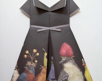 Feathered Frock: Baby Shower Gift Girl- Gift for Bird Lover- Bird Nursery Art- Girls's Room Decor- Wall Art for Girls Room- Gift for Gardner