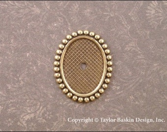 Beaded Bezel Cameo Setting in Antiqued Polished Brass 18x13mm  (item 1504 AG) - 6 Pieces