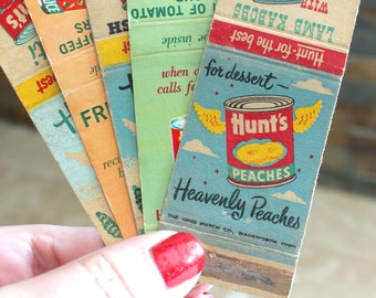 Five Hunts matchbook covers with recipes - Hunts peaches vintage match cover - matchbook cover - advertising collectible - paper ephemera