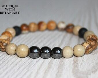 Meditation bracelet for men Calming bracelet men protection bracelet mens healing bracelet Lava rock bracelet mens lucky bracelet lava men
