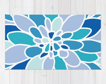 Modern Blue Flower Area Rug - Abstract Flower Rug - Blue Flower Area Rug - Nursery Rug - Modern Home Decor