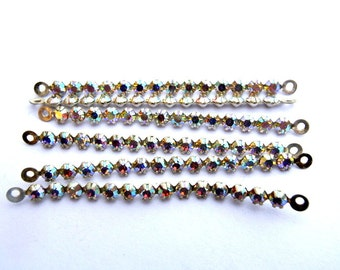 6 Vintage Swarovski crystal connector beads, 14 AB clear crystals in silver color metal setting- RARE