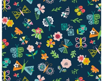 Club Tropicana - Navy Flowers Floral by Dashwood Studio for Sewing, Dressmaking & Quilting