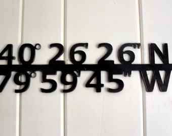 Custom Metal Coordinates Sign. Steel Wall Art. Personalized Wedding, Housewarming, Anniversary Gift.