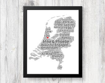 Personalised map of love italy word art print gift keepsake personalised map of love netherlands word art print keepsake birthday christmas girlfriend wife boyfriend husband engagement gumiabroncs Choice Image