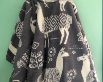 MADE TO ORDER Light Gray And Ivory Llama Hooded Double Fleece Car Seat Poncho