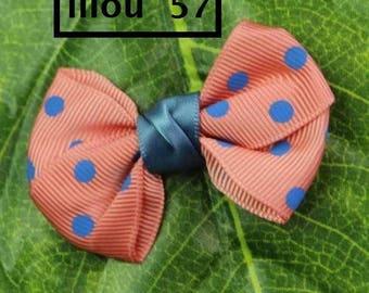 Pretty bows pink Satin Ribbon appliques salmon, blue polka dots