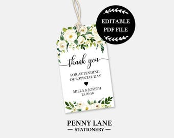 Editable PDF Wedding Favor Tags, White Floral Wedding Tags, Floral Wedding Favor Tags, Wedding Favour Tags, Editable Wedding, Gift Tags, WF1