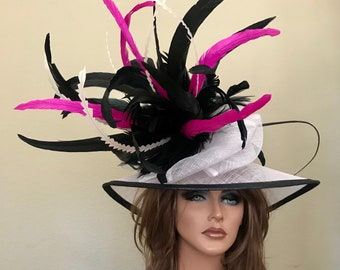 Black White Hot Pink Medium Brim Hat Kentucky Derby -Wedding- Races Custom