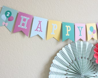 Hip Hip Hooray Birthday Banner / Birthday Banner / Balloon Banner / Girl Birthday / Hip Hip Hooray