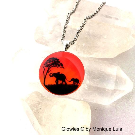 Elephant Sunset Safari Art Glow Necklace