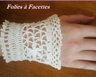 cuff bracelet romantic white cotton crochet