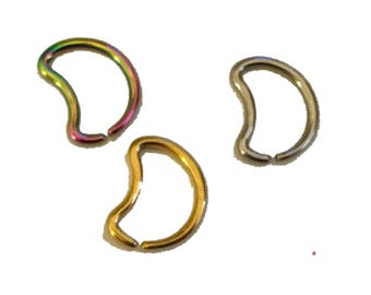 "Exclusive Daith MOON ""Trio"" of three moons, steel, rainbow, gold pvd, my original design"