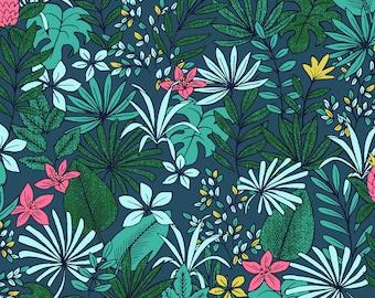 Pitaya fabric blue and celadon, jungle, leaves, dragon fruit - 1/2 meter