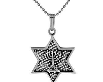 Sterling Silver Jerusalem Temple Menorah Star of David Pendant Judaica Necklace