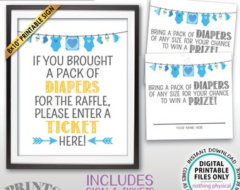 "Diaper Raffle Ticket Sign, Enter a Raffle Ticket Baby Shower Raffle Tickets, Blue, PRINTABLE 8x10"" Sign & 8.5x11"" Sheet of 2.5"" Tickets <ID>"