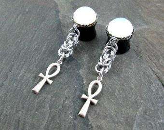 "Ankh Plugs - 00g 10mm - 1/2"" 12mm - Dangle Gauges - Ankh Jewelry  - Plug Earrings - Dangle Plugs - Gothic Gauges - Gothic Wedding"