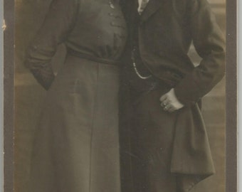 Antique German Cabinet Card of Handsome Couple, Marked Ostermayr. Munchen. Karlsplatz 6. Vintage Photography.