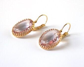 Marie Antoinette Earrings, Georgian Paste Earring, Pink Crystal Earring, Blush Pink Jewelry, Jane Austen Earring, Regency 18th Century Jewel