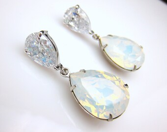 bridal jewelry bridesmaid gift wedding prom christmas party swarovski teardrop white opal crystal drop diamond teardrop cz post earrings
