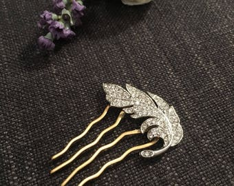 Brass Hair Accessory with Diamante Feather Embellishment