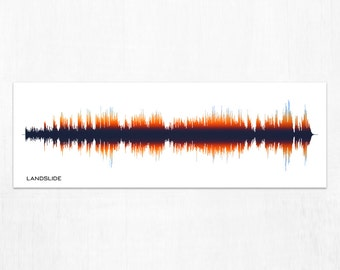 Landslide - Rock Band Music Sound Wave Wall Art Print, Personalized Gift for Music Lovers, Musicians, Men, Women