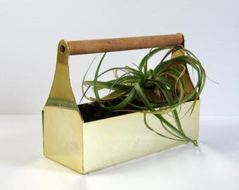 Vintage Brass Planter w Wood Handle - Miniature Tool Box - Office Desk Organizer - Small Sewing Box - Brass Home Decor - Air Plant Holder