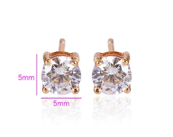 Brilliant Rose Gold plated and CZ Diamond Studs