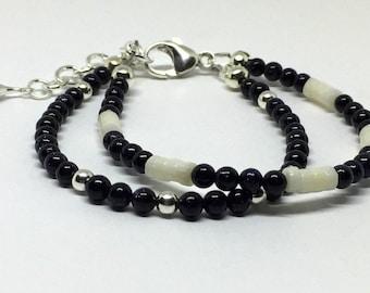 Blue Sandstone Beaded Bracelet, Blue Goldstone Sterling Silver Bracelet, Natural Stone Jewelry, Blue Bead Bracelet, Dainty Bead Jewelry,